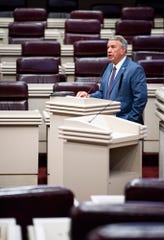 Alabama Speaker of the House Mac McCutcheon in the nearly empty house chamber on Thursday March 26, 2020.