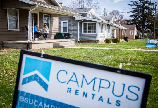 Student rental properties line a neighborhood near Ball State.
