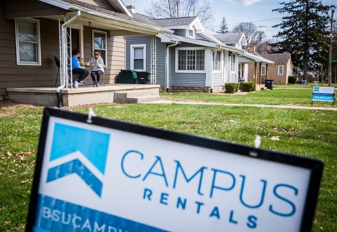 Student rental properties line a neighborhood near Ball State.