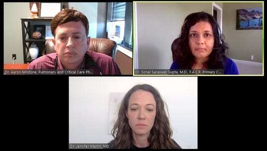In a video news conference, Tennessee doctors Aaron Milstone, Sonal Gupta and Jennifer Martin urge Gov. Bill Lee to issue a statewide stay-at-home order to combat the spread of the coronavirus.