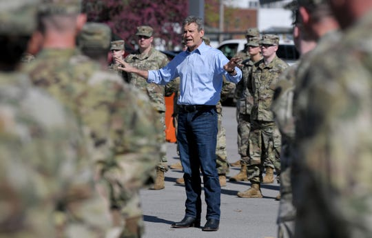 Gov. Bill Lee speaks to Tennessee National Guard members Thursday, March 26, 2020, in Smyrna, Tenn., before they are sent to assist in the fight against the coronavirus in counties through the state.