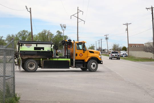 An Eddy County Road truck is called into action March 26, 2020 in the Artesia area.