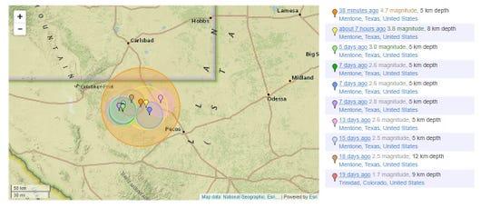 USGS report of earthquakes near Mentone, Texas.