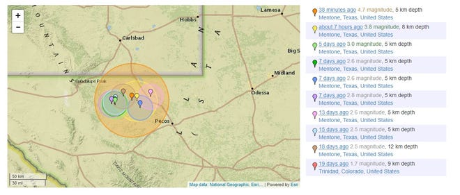 USGS report of earthquakes near Mentone, Texas.