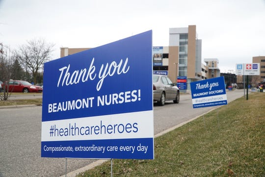 Signs at Beaumont Hospital's Farmington Hills' campus off Grand River Avenue, expressing appreciation for health care providers.