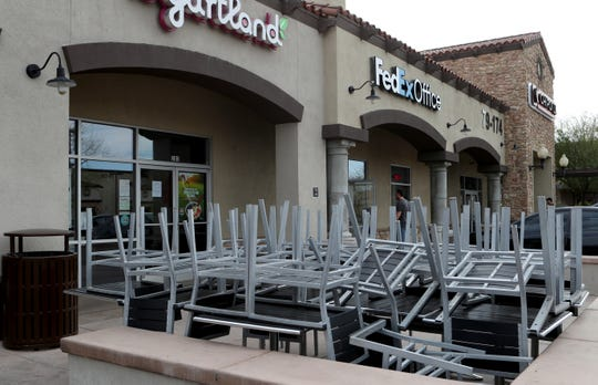 Yogurtland is closed in La Quinta, Calif, on March 25, 2020. Some restaurants are allowed to remain open for take out only during the coronavirus pandemic.