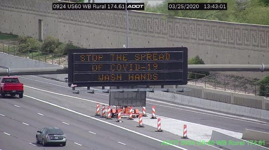 ADOT message boards encourage people to stop spread of COVID-19