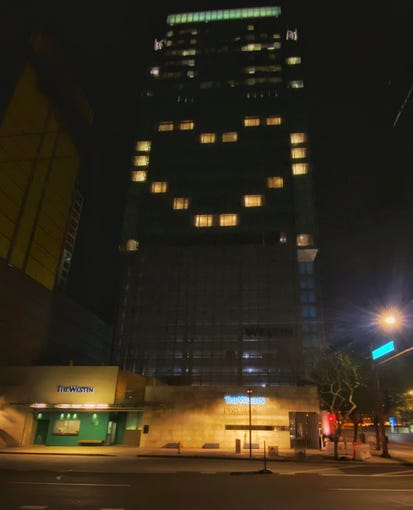 The Westin Phoenix hotel is among those in Arizona and throughout the United States lighting their rooms in heart-shaped patterns in a message of hope during coronavirus.