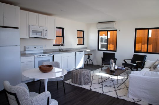 The interior of modular residential home, March 23, 2020, at Adaptive Shelters, 5301 W. Madison St., Phoenix.