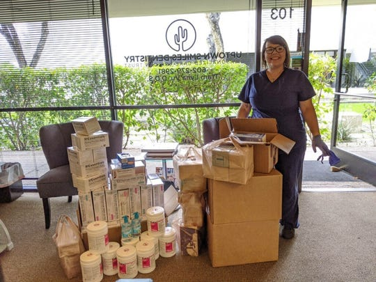 Donations of PPE for health care professionals made at Uptown Smiles Dentistry in Phoenix on March 25, 2020.