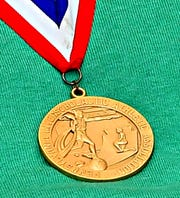 Mike Keesey's gold medal from the 1990 state championship team at York Catholic.