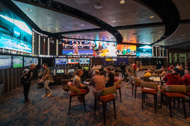 William Hill sports book inside The Strat before the COVID-19 pandemic.