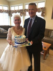 Kathy and Gary Girten during their in-home wedding ceremony on Saturday, March 21, 2020.