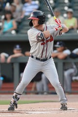 Second baseman Greg Cullen (18) of the Rome Braves bats in a game against the Columbia Fireflies on Saturday, August 17, 2019, at Segra Park in Columbia, South Carolina. Cullen is home in Penfield as minor league baseball camps have been shut down by the coronavirus outbreak.