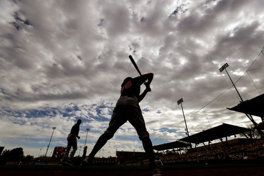 Brighton's Ernie Clement waits to bat during the ninth inning of a spring training baseball game against the Chicago White Sox, Friday, Feb. 28, 2020, in Glendale, Ariz.