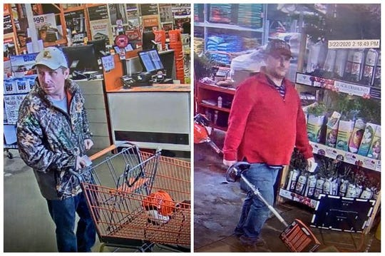 Shreveport police are searching for two men who are suspected of stealing an Echo Timmer from Home Depot, located at 110 E. Bert Kouns Industrial Loop, on March 22.