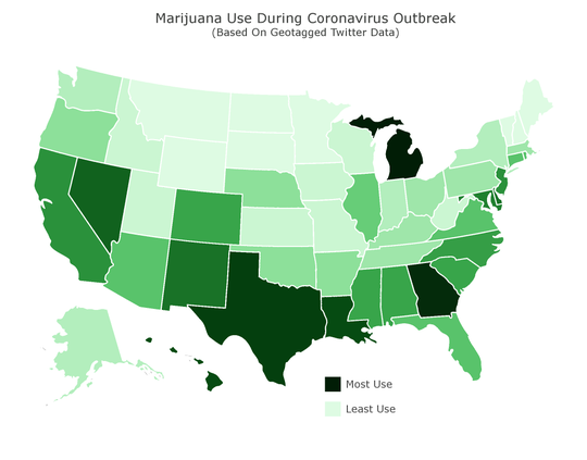 A map of marijuana use during the COVID-19 outbreak.