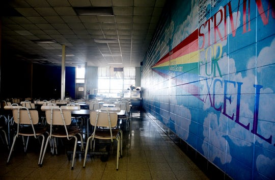 Caddo Magnet High School's cafeteria is empty on Thursday, March 26, 2020.