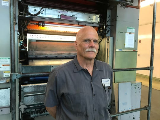 """Robert Zimmerman, 62, has worked for the News-Leader 50 years and has been a pressman for seven.  """"I wanted to work another five years,"""" he says. The press makes its final run Sunday night.  Photo by Steve Pokin/News-Leader"""