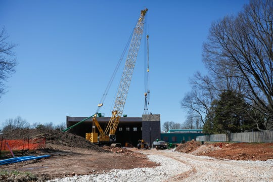 Crews continue to work on the construction of the new Delaware Elementary School on March 25.
