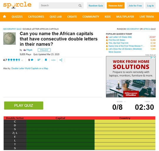 Sporcle offers quizzes and trivia, which can help pass time during a quarantine.