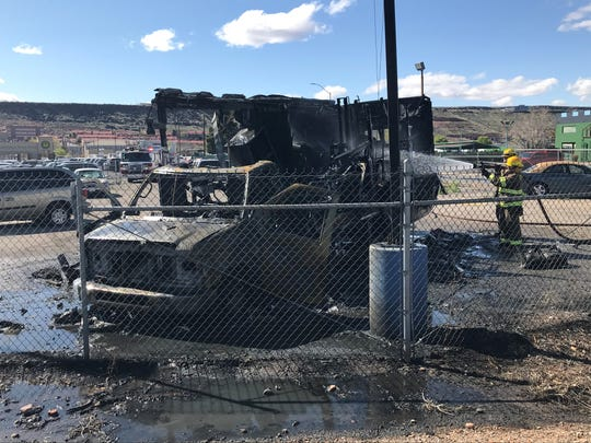 An RV in storage on 1160 S. near JC Snow Park and the Fiesta Fun Family Center caught fire on Thursday around 3:30 p.m.