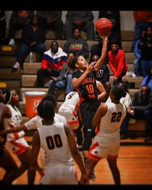 Lincoln Park Academy guard Christen McCann takes a shot against Cocoa in the Region 3-4A championship game on Feb. 21, 2020 at Cocoa High School.