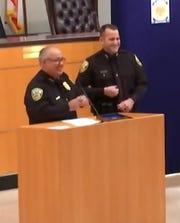 Officer Jonathon Fuelling (right), Police Chief John Bolduc (left)
