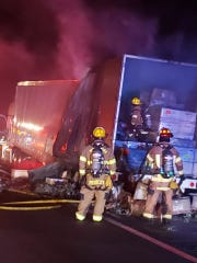 A tractor trailer fire temporarily closed southbound lanes on Interstate 95, south of County Road 512, near Fellsmere around 10 p.m. Wednesday March 25, 2020. There were no injuries, according to highway officials.
