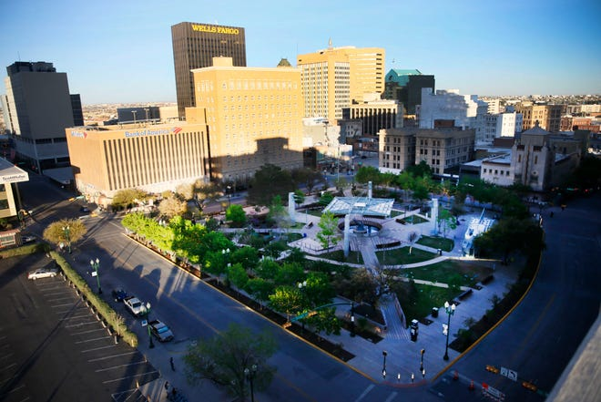 """San Jacinto Plaza is empty in Downtown El Paso on Wednesday, March 25, 2020. El Paso officials issued a """"Stay Home, Work Safe"""" order Tuesday to help halt the spread of the coronavirus."""