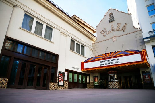 """The Plaza Theatre in Downtown El Paso is shown closed Wednesday, March 25, 2020. El Paso officials issued a """"Stay Home, Work Safe"""" order Tuesday, March 24, 2020, to help halt the spread of the coronavirus."""