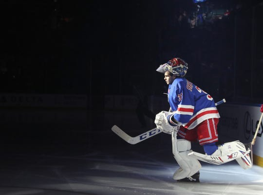 Igor Shesterkin #31 of the New York Rangers skates out to face the Detroit Red Wings at Madison Square Garden on January 31, 2020 in New York City.