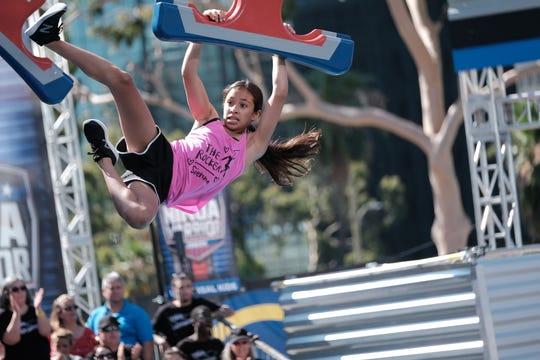 "Sienna ""the Rocker"" Perez of Larchmont in the qualifying round of ""American Ninja Warrior Junior."""