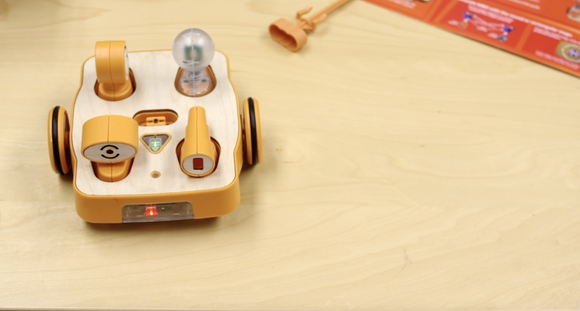 By scanning the barcodes of specific coding blocks, you can make the KIBO robot do tons of neat things.