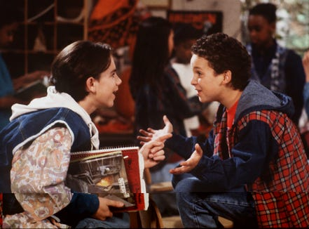"""Still looking for """"friends that will always stand by me"""" like Shawn Hunter (Rider Strong) left, and Cory Matthews (Ben Savage) from """"Boy Meets World."""""""