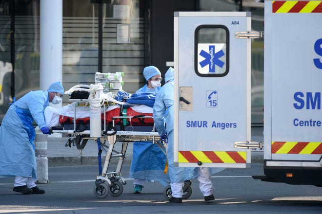 COVID-19 patient in Angers, France, on March 26, 2020.