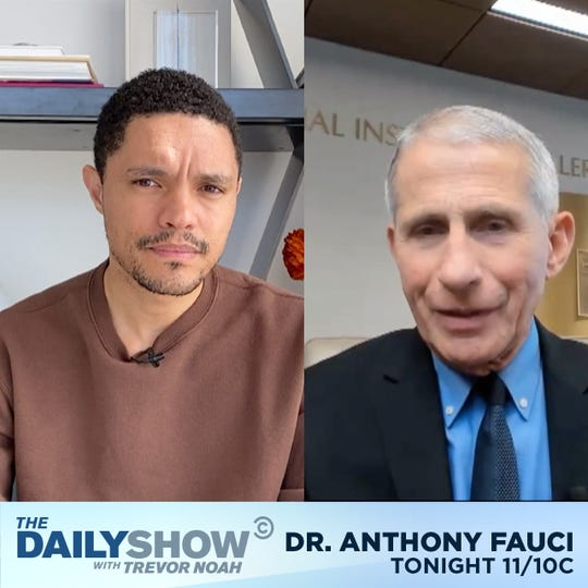 'The Daily Show' host Trevor Noah, left, interviewed Dr. Anthony Fauci about coronavirus for Thursday's episode of the late-night Comedy Central show.