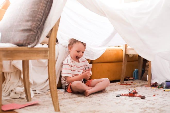 Liz Dean's 5-year-old son during a FaceTime playdate inside his homemade fort.