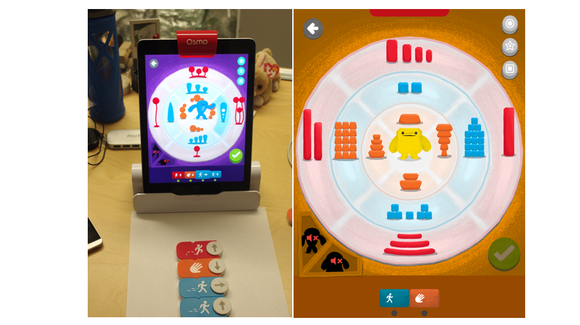 Using the iPad's camera, Osmo reads the coding blocks you assemble and translates them into actions in the different Osmo games.