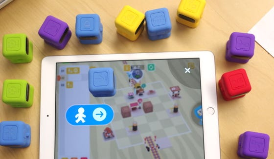 Tangiplay is a coding kit wherein kids place specific figurines on a tablet to solve coding puzzles.