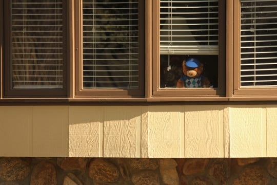 "Bears on display in windows in a Powdersville neighborhood as part of a ""bear hunt"" that allows children who are social distancing to do an outdoor activity by seeing teddy bears from the road."