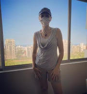 Valerie Bruel donned a homemade facemask a few days ago before going food shopping in Lima, Peru.