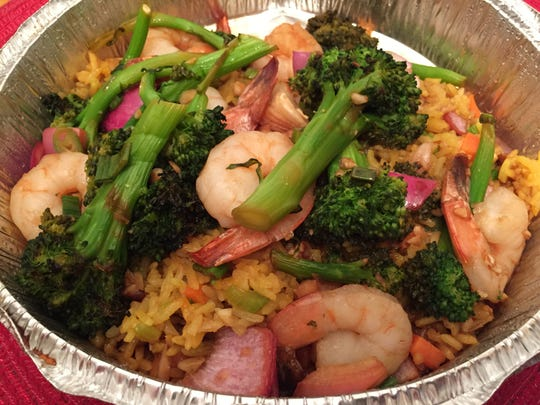 Shrimp-and-broccoli fried rice ordered from Hatchet Tap & Table in Richmond on March 26, 2020.