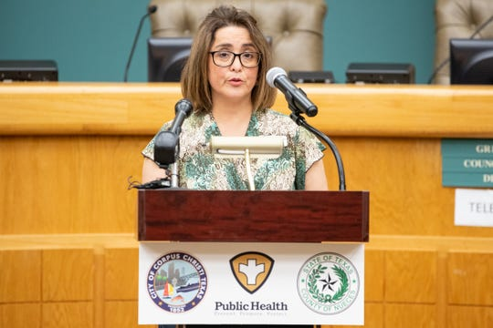 Annette Rodriguez, Director of Public Health for the Corpus Christi-Nueces County Public Health District speaks during the daily Public Health District COVID-19 Update at City Hall on Friday, March 27, 2020.