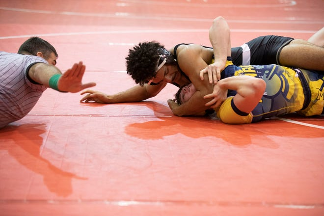 Tim Diamond pins his opponent at the the Logan Elm Wrestling Invitational on Jan. 4, 2020, in Circleville, Ohio. Diamond would have been only the second wrestler to qualify for the state championships from Unioto with Ben Davenport being the only other wrestler to qualify.