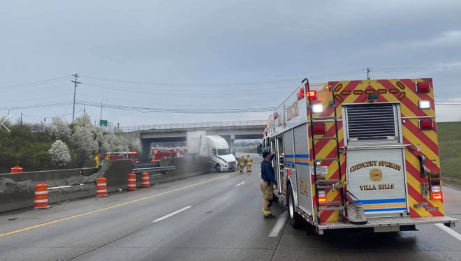 I-75 south and north bound shut down at Dixie Highway in Fort Mitchell due to tractor trailer crash and fire.