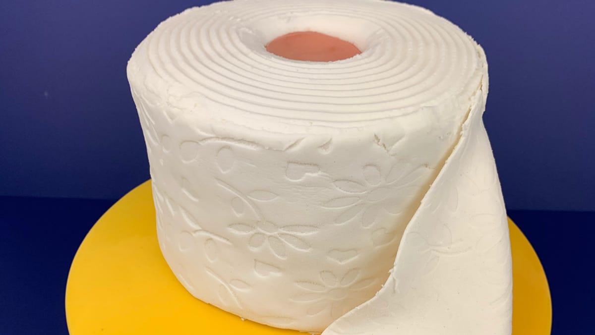 Peachy Busken Bakery Making Quarantine Cakes In Shape Of Toilet Paper Personalised Birthday Cards Veneteletsinfo