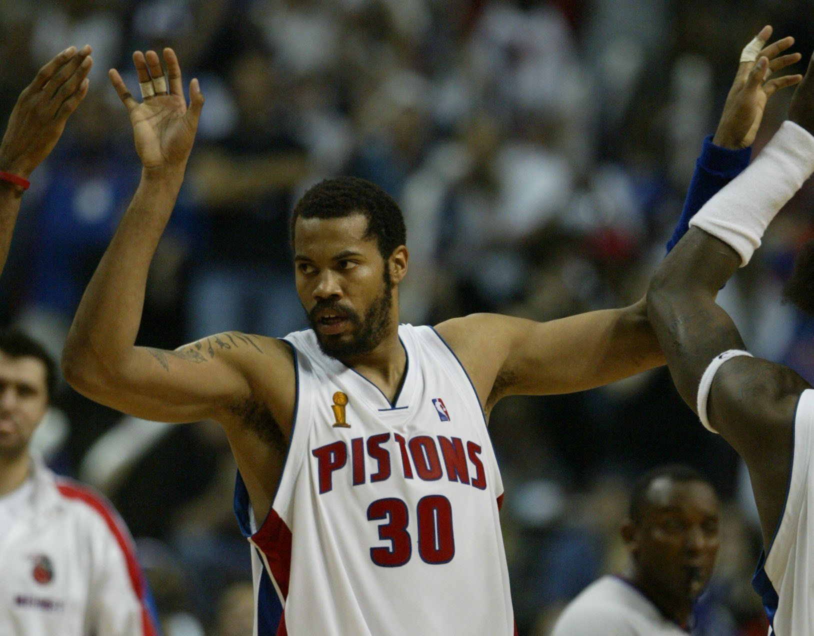 Detroit Pistons' Rasheed Wallace celebrates in the closing seconds of Game 4 against the Los Angeles Lakers of the NBA Finals, June 13, 2004, at the Palace of Auburn Hills. The Pistons defeated the Lakers, 88-80.