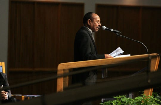 O'Neil Swanson, owner of Swanson Funeral speaks during funeral services for Michigan Chronicle Publisher, Samuel Logan Jr. held at Greater Grace Temple in Detroit, on Friday, Jan. 6, 2012. ANDRE J. JACKSON/Detroit Free Press