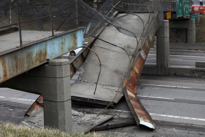 The Townsend pedestrian bridge at Interstate-94 and Van Dyke in Detroit collapsed Friday, March 27, 2020.